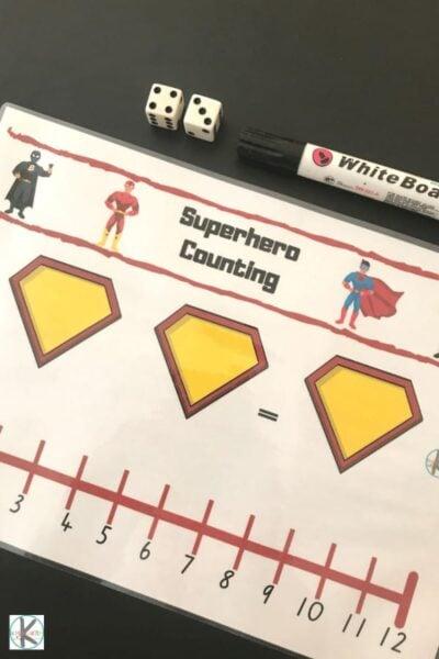 super cute free superhero printable to help kids practice math while having fun