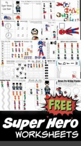 FREE Super hero worksheets for kids