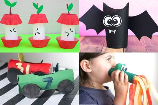 toilet paper roll crafts for a is for apple, b is for bat, c is for car, d is for dragon