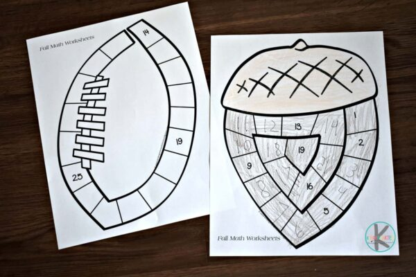 free printable fall math worksheets for kindergartners