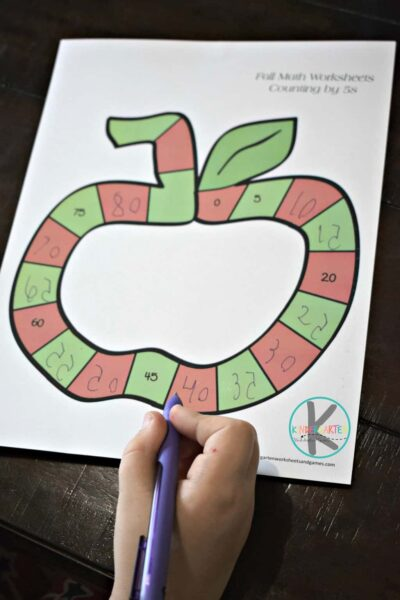 kindergarten math worksheets to work on counting by 1s, 2s, 5s, and 10s with a fun fall theme