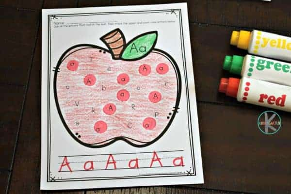 super cute, apple themed, Letter Tracing Worksheets for toddler, preschool, pre k, kindergarten, and grade 1 students for September