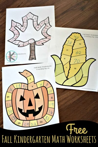 Help kids practice skip counting and what comes next with these super cute, free printable fall math worksheets for kindergarten, first grade, and 2nd grade students. Children will have fun counting and filling in missing numbers with these super cute fall worksheets featuring a leaf, corn on the cob, pumpkin, jack o lantern, football, acorn, and apple.