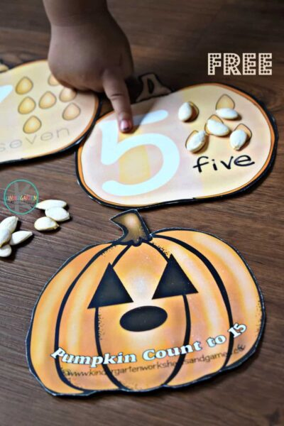 FREE Pumpkin Count to 10 Cards - hands on printable activity for preschool, prek, and kindergarten age kids for practicing counting during fall, halloween, and thanksgiving. #kindergarten #counting #pumpkin