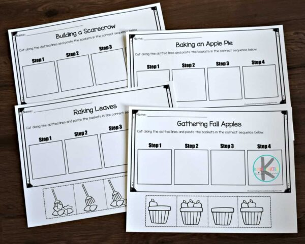 sequence for kids activity to help kindergarten, first grade, and 2nd grade kids to put items in order