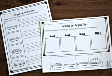 several different sequencing activities for kindergartners such as building an apple pie, raking leaves, making a scarecrow, and gathering apples