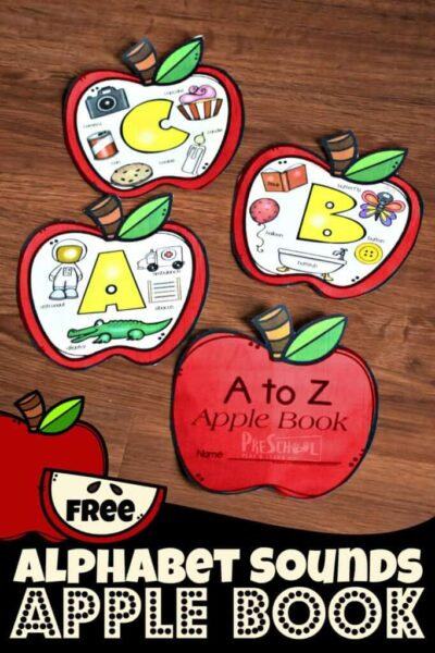 Alphabet Apple Sounds Book for phonics with kindergartners