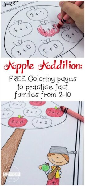 Apple Addition Coloring Pages