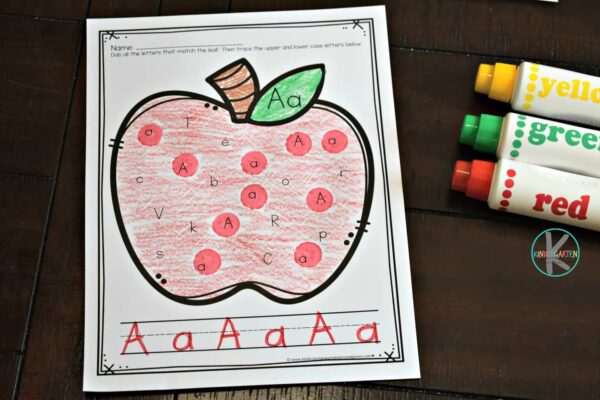 apple alphabet activity for preschoolers and kindergartners