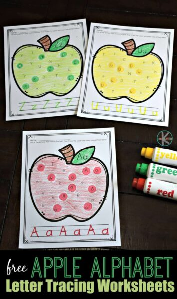 FREE Apple Alphabet Letter Tracing Worksheets - super cute fall themed letter find worksheets to help kids play i spy and trace upper and lowercase letters. Perfect for preschool, prek, and kindergarten age kids. #preschool #kindergarten #Alphabet