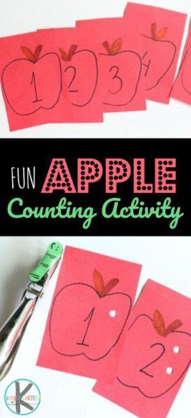 Apple Counting Activity - fun hands on kindergarten math activity to help preschoolers and kindergartners practice counting to 10 and how to count to 20. #math #kindergarten #apple