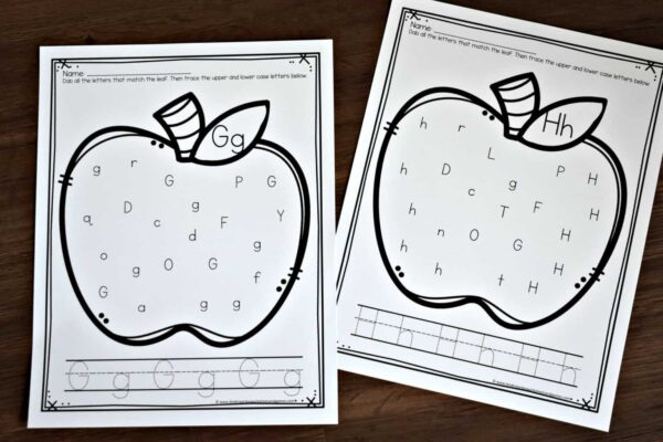 apple printables to help kids learn their abcs