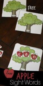 apple tree sight words activity