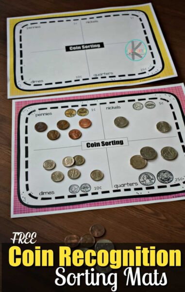FREE Coin Recognition Sorting Mats - hands on math activity for prek, kindergarten ,and 1st grade kids #money #kindergarten #math
