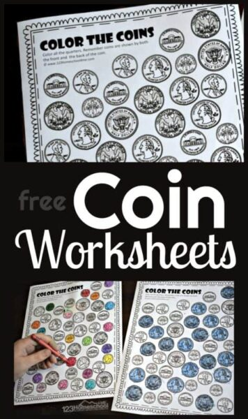 Color the Coins Worksheets