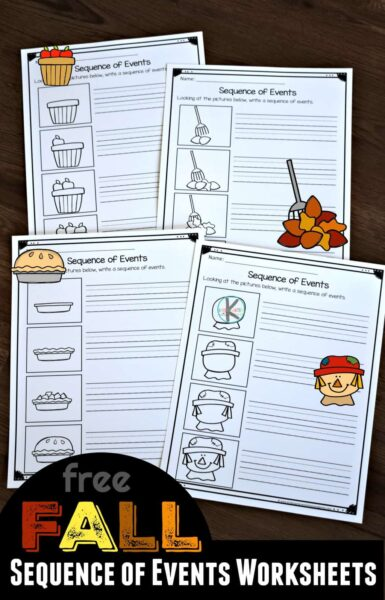 FREE Fall Sequence of Events Worksheets - two different activities to help kids learn about the order of events for fall items such as scarecrow, apple pie, leaves, and gathering apples. Fun activity for preschool, prek, kindergarten, and first grade kids #sequencing #kindergarten #worksheets