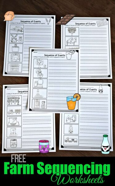 FREE Farm Sequencing Worksheets - free printable cut and paste worksheets and write the sequence activity for elementary age kids science to learn how things go from the farm to table #science #sequencing #printables