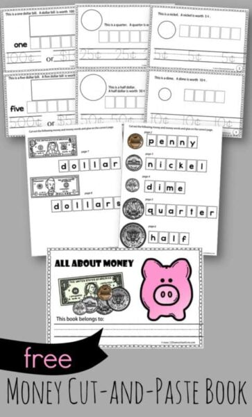 FREE Money Cut and Paste Worksheets