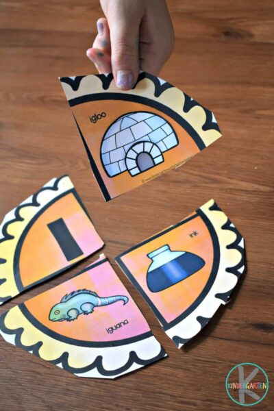 alphabet puzzle game perfect for fall where kids will put together pumpkin pies with letter and pictures of things with the same beginning sound