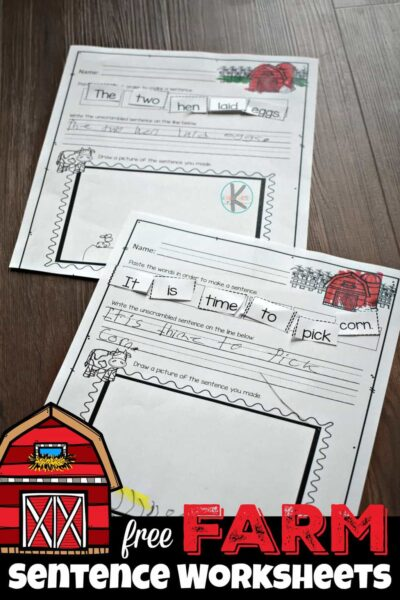 FREE Farm Sentence Worksheets - kids will have fun practicing building sentences with these cut and paste worksheets for prek, kindergarten and first grade students about farm animals #farm #sentences #kindergarten