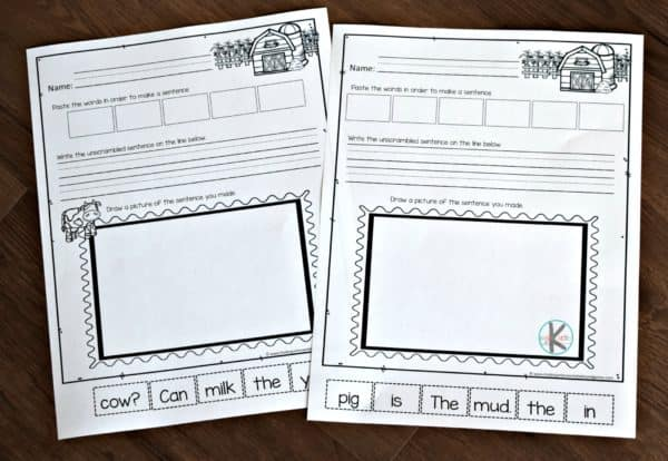farm worksheets to help kindergarten and first grade students work on writing sentences