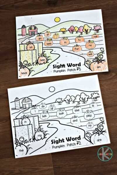 free printable kindergarten sight words games in color and black and white