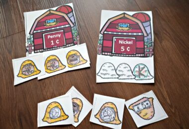 fun, hands on money activity for preschool, prek, kindergarten, and first grade students with a farm theme