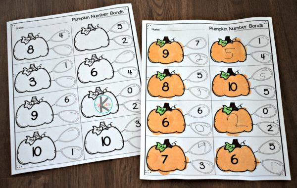 number bonds worksheets for kindergarten and 1st grade kids