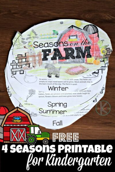 FREE Seasons for Kindergarten flip book to help preschoolers and kindergartners learn about 4 seasons #seasons #kindergarten