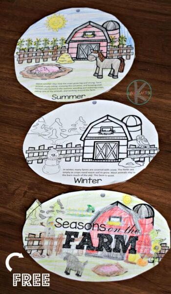 FREE Seasons on the Farm Printable - fun way for kids to learn about the 4 seasons in science #seasons #science #farm