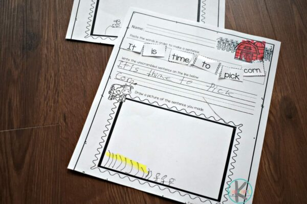 free printable sentence worksheets for kindergartners on life on the farm