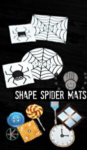FREE Shape Spider Mats - fun, hands on math activity for preschool, prek, and kindergarten age kids to learn shapes with a fun halloween or fall themed activity #math #shapes #kindergarten