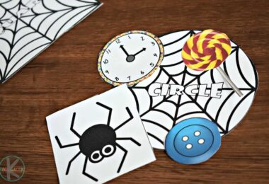 super cute spider printables to help kids learn shapes with a fun halloween theme
