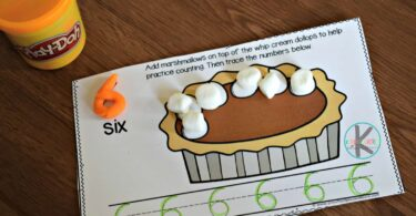 Fun, hands on math activity for kindergartners for thanksgiving theme using marshmallows, dry erase markers, and playdough