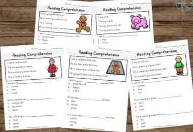 christmas printables to help kindergartners and first graders work on reading comprehension