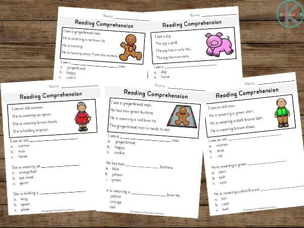 christmas printables to help kindergartners and first graders work on reading comprehension