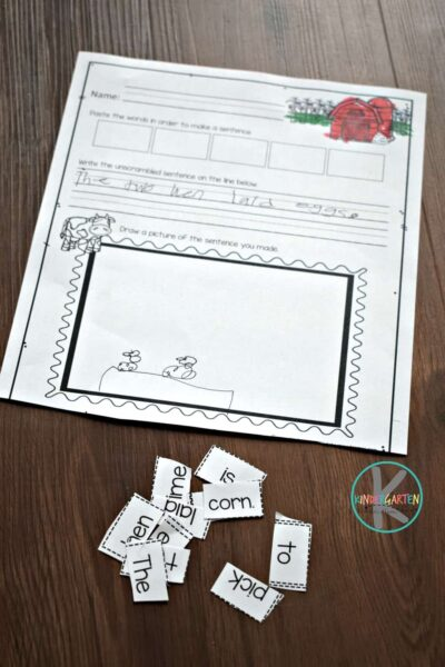 fun cut and paste worksheets for kinders to practice building sentences about the farm and farm animals