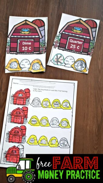 Kids will have fun practicing identifying American coins with these money worksheets for kindergarten, preschool, pre-k, and first graders with this FREE Farm Money Practice that includes a hands on activity and worksheets too. Simply download pdf file with kindergarten money worksheets and you are ready to play and learn with a money activities for kindergarten.