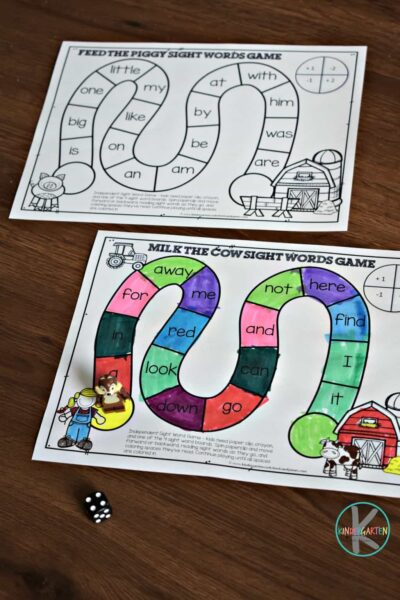 farm printables to help practice kindergarten primer sight words with a fun, free printable sight word game #sightwords #kindergarten #farm