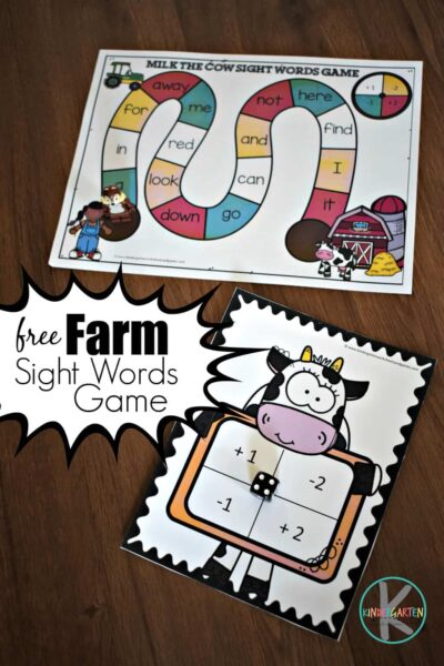 FREE farm sight words game for kindergartners