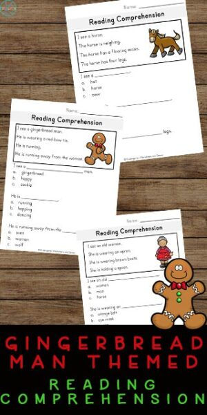These free printable Christmas reading comprehension worksheets are a great way to help kindergarten, first grade, and 2nd grade students practice and improve their reading comprehension, vocabulary and their writing skills. Using these gingerbread man comprehension questions helps determine if children understand what they read. Plus these gingerbread man worksheets will also be working on their letter and word recognition which is an important part of learning to read.