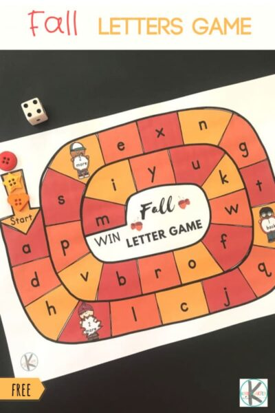 FREE Fall Letters Game -fun activity to help kindergartners to practice letter recognition #letters #alphabet #kindergarten