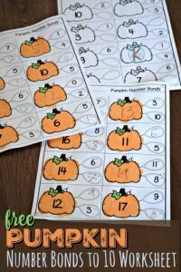 FREE Pumpkin Number Bonds to 10 Worksheet - super cute, free printable math activity for kindergartners and first graders #numberbonds #pumpkin #math