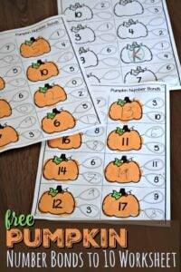 FREE Pumpkin Number Bonds to 10 Worksheet - super cute, free printable math activity for kindergartners and first graders #numberbonds #pumpkin #math