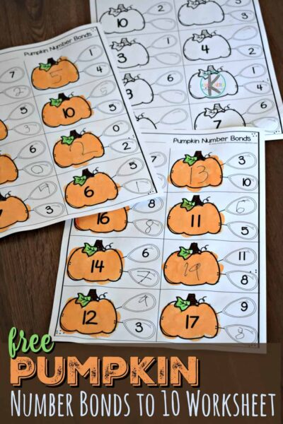 Make practicing math fun with these pumpkin number bonds! These number bonds to 10 worksheet will help kids get excited to practice addition and gaining math fluency with a pumpkin themed learning activity. These free math worksheets are perfect for kindergarten and grade 1 students in October for fall.