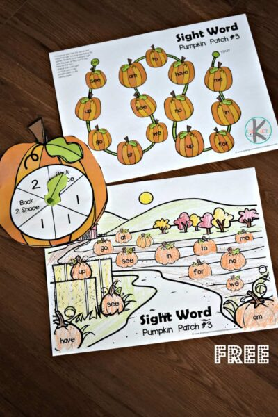 pumpkin printables to help prek, kindergarten, and first grade kids to practice sight words