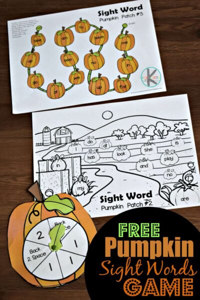 FREE Pumpkin Sight Words Game - fun, hands on reading game to help kindergartners practice primer sight words with a fun fall themed activity #sightwords #pumpkin #kindergarten