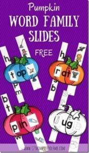 FREE PUmpkin Word Family Sliders