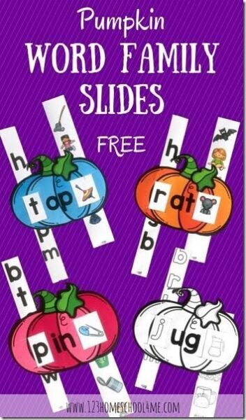 FREE PUmpkin Word Family Sliders
