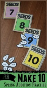 Make 10 Seeds Addition Game for kindergarten age kids